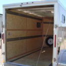 Inside of white enclosed trailer